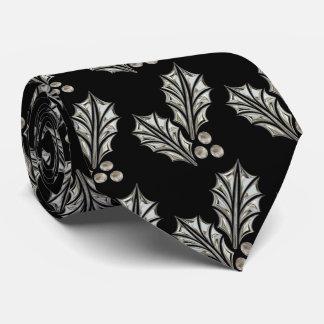 Platinum Silver Holly Christmas Tie