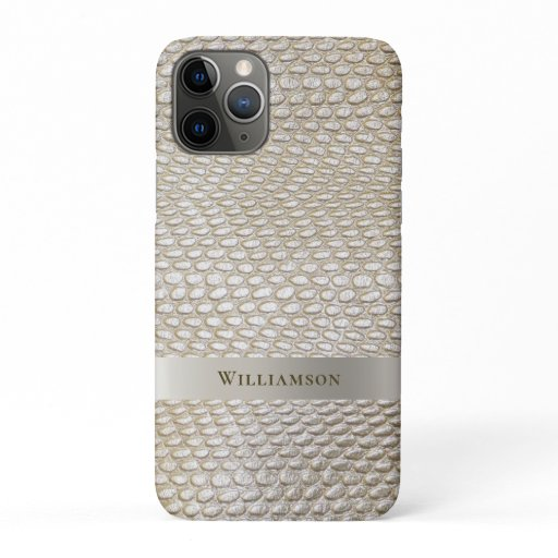 Platinum Snakeskin Digital Leather Titanium Metal iPhone 11 Pro Case