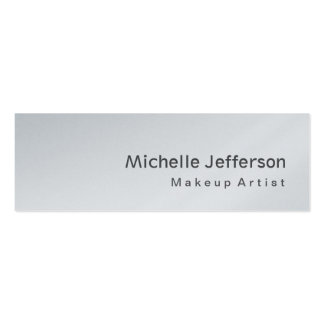 Platinum Special Modern Skinny Grey Makeup Artist Double-Sided Mini Business Cards (Pack Of 20)