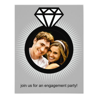Platinum The Ring Photo Engagement Party Card