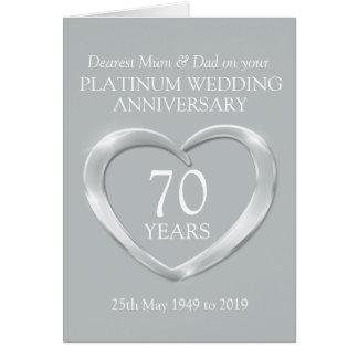 Platinum wedding anniversary mum and dad card