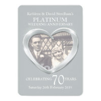 Platinum wedding heart photo 70 years party invite