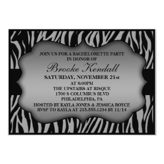 Platinum Wild Night Zebra Print Bachelorette Party 5x7 Paper Invitation Card