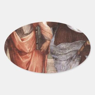 Plato and Aristotle Oval Sticker