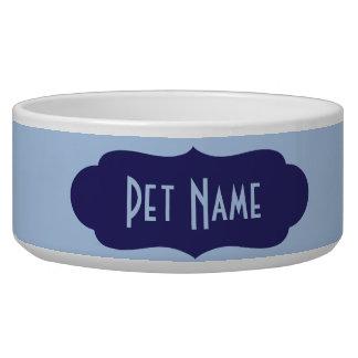 Plato (azul) personalizado de la comida o del agua bol para perro