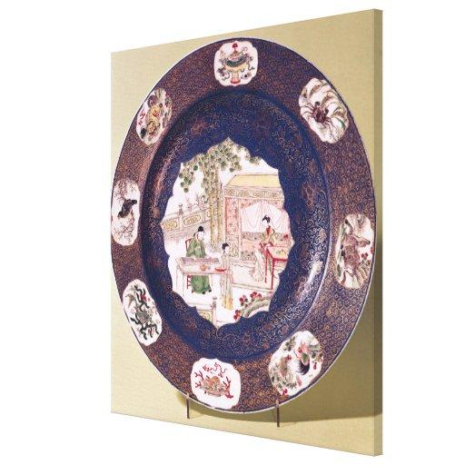 Plato circular con una escena musical impresiones de lienzo