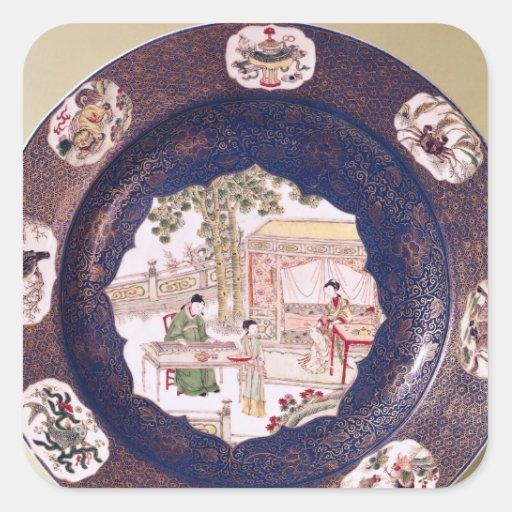 Plato circular con una escena musical pegatina cuadrada
