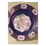 Plato circular con una escena musical tarjeta de felicitación