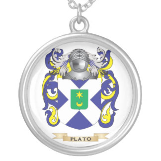 Plato Coat of Arms (Family Crest) Round Pendant Necklace
