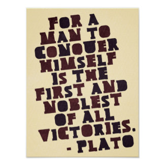 Plato 'Conquer himself' motivational poster
