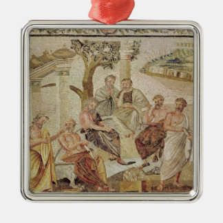 Plato Conversing with his Pupils Square Metal Christmas Ornament