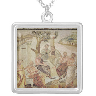Plato Conversing with his Pupils Square Pendant Necklace