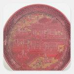 Plato de la laca, tallado pegatina cuadrada