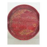 Plato de la laca, tallado postales