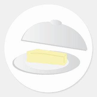 Plato de mantequilla pegatina redonda