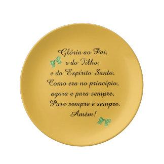 Plato de porcelana, con oración en portugués platos de cerámica