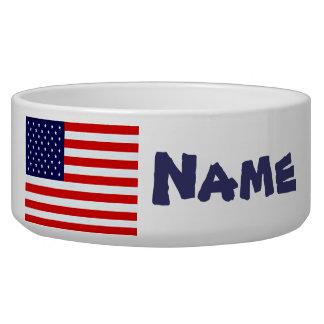Plato del perro de la bandera americana bol para perro