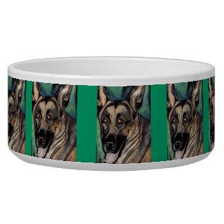 Plato del perro de la PINTURA AL ÓLEO del PASTOR A Comedero Para Mascota