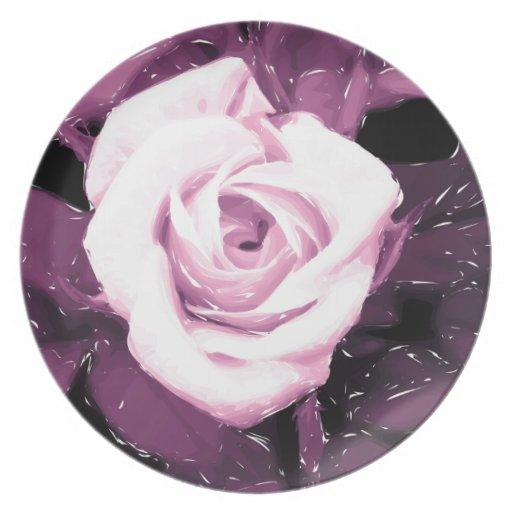 Plato elegante de diseñador flor digital de rosa