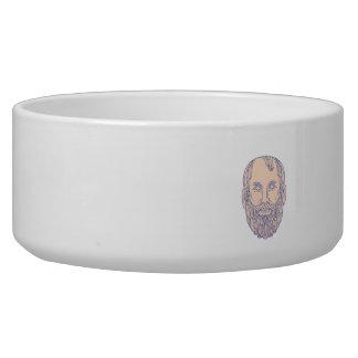 Plato Greek Philosopher Head Mono Line Bowl