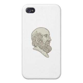 Plato Greek Philosopher Head Mono Line iPhone 4/4S Cover