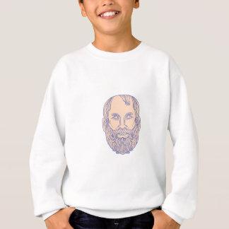Plato Greek Philosopher Head Mono Line Sweatshirt