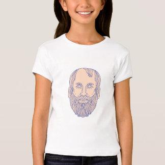 Plato Greek Philosopher Head Mono Line T-Shirt