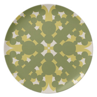 Plato Mosaico Tonos Verdes Secos De Melanino