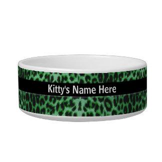 Plato oficial del gatito de la piel del leopardo boles para gatos