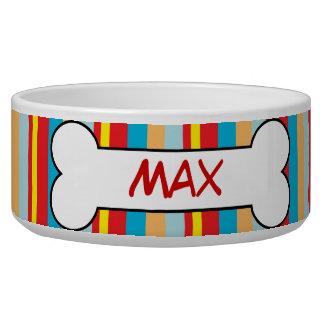 Plato personalizado rayas coloridas de la comida comedero para mascota