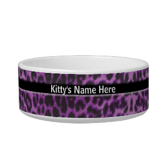 Plato personalizado suposición púrpura del gato de tazón para comida gato