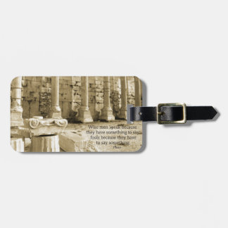 Plato philosophy quote about fools and wisdom bag tag