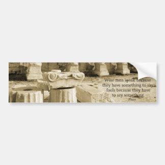 Plato philosophy quote about fools and wisdom bumper sticker