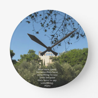 Plato philosophy quote about fools and wisdom wall clock