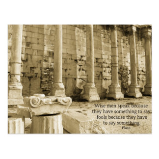 Plato philosophy quote about fools and wisdom postcard