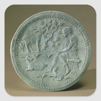 Plato que representa el ganadero, cabras y el pegatina cuadrada