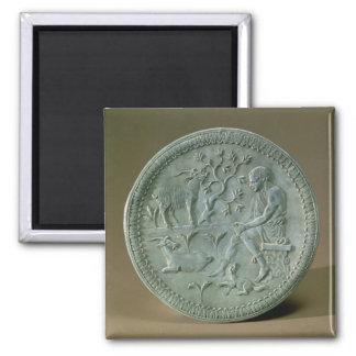 Plato que representa el ganadero, cabras y el perr imán cuadrado