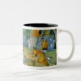 Plato que representa la reunión del maná taza de café de dos colores