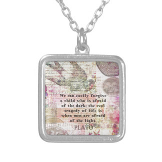 Plato quotation about life, dishonesty, fear square pendant necklace