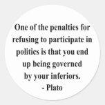 Plato Quote 2a Round Stickers