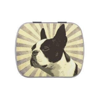 Plato retro del caramelo de Boston Terrier Latas De Dulces