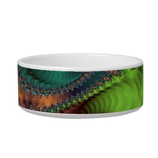 Plato verde del mascota del fractal tazón para gato