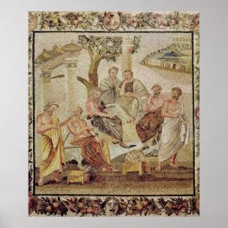 Platón que conversa con sus alumnos póster