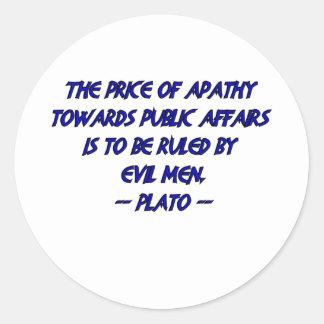 Platón y hombres malvados pegatina redonda