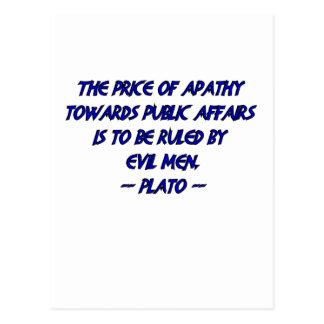 Platón y hombres malvados postales