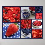 Platos y collage azules de la fruta impresiones