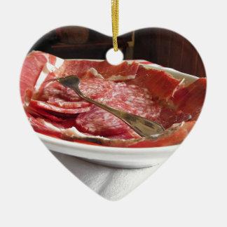 Platter of cold cuts ceramic ornament