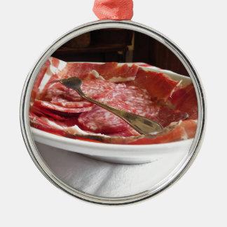 Platter of cold cuts metal ornament
