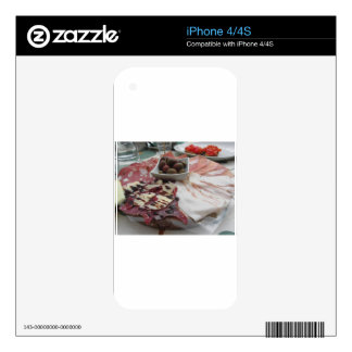 Platter of cold cuts with rustic ham prosciutto decals for the iPhone 4