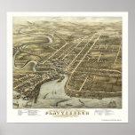 Plattsburgh, mapa panorámico de NY - 1877 Impresiones